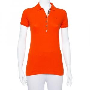 Burberry Orange Cotton Pique Polo T-Shirt XS - used