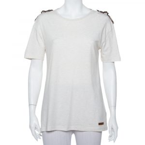 Burberry Brit Cream Knit Leather Belt Detail Short Sleeve T-Shirt S - used