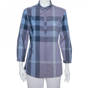 Burberry Brit Blue Plaided Cotton Button Front Shirt L - used