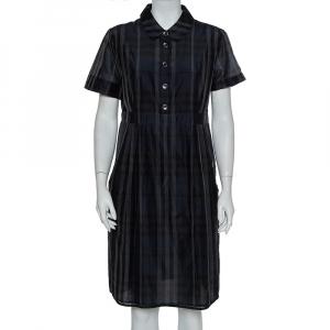 Burberry Navy Blue Checkered Cotton Silk Midi Dress L - used
