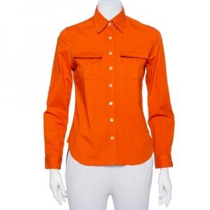 Burberry Orange Cotton Pocket Detail Button Front Shirt S - used