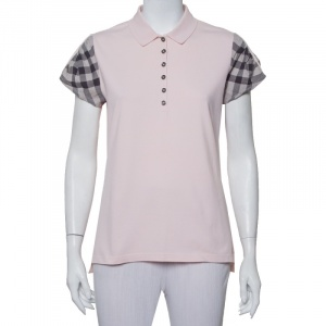 Burberry Brit Pink Cotton Pique House Check Sleeve Detail Polo T-Shirt XL - used