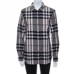 Burberry Monochrome Cotton House Checkered Button Front Shirt M - used