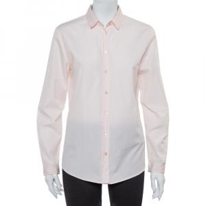 Burberry Brit Pink Cotton Nova Check Trim Detail Button Front Shirt M - used