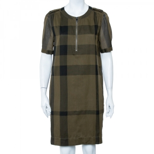 Burberry Brit Military Green Plaided Cotton Zipper Front Shift Dress S