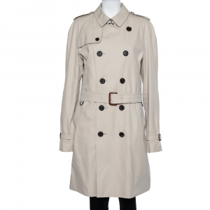 Burberry Beige Cotton Belted Double Breasted Trench Coat XL