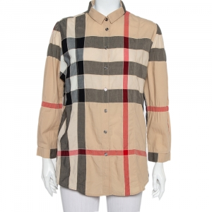 Burberry Brit Beige Nova Check Cotton Puff Sleeve Button Front Shirt XL