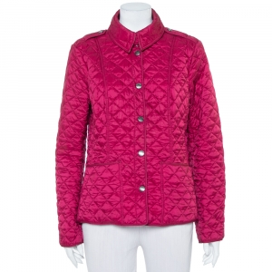 Burberry Brit Magenta Synthetic Quilted Button Front Jacket L