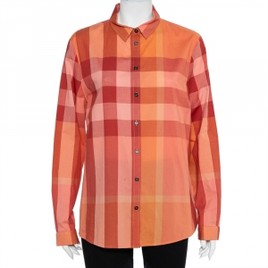 Burberry Brit Orange Checkered Cotton Button Front Shirt XL - used