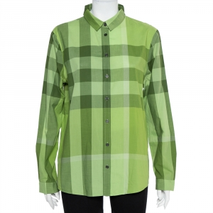 Burberry Brit Green Checkered Cotton Button Front Shirt XL