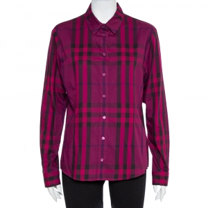 Burberry Brit Purple Checkered Cotton Button Front Shirt XL