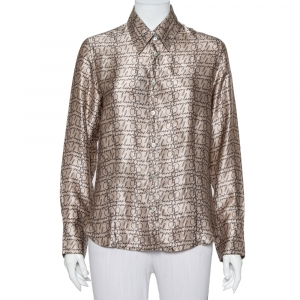 Burberry London Beige Logo Printed Silk Long Sleeve Button Front Shirt L - used