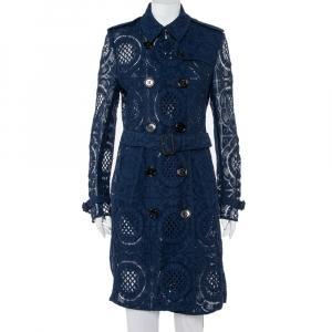 معطف بربري دانتيل أزرق كحلي بصفين أزرار بحزام مقاس كبير - لارج
