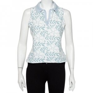 Burberry White Floral Printed Cotton Pique Sleeveless Polo T-Shirt L - used