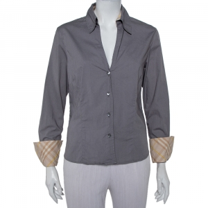 Burberry Grey Cotton V-Neck Collared Button Front Shirt XL - used