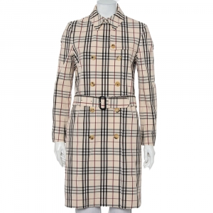 Burberry Beige Nova Check Cotton Belted Double Breasted Coat S