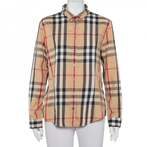 Burberry Brit Beige Nova Checkered Cotton Button Front Shirt XL - used