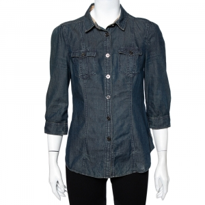Burberry Brit Navy Blue Lightweight Denim Button Front Shirt M - used