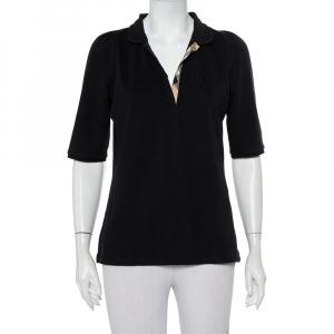 Burberry Brit Black Cotton Knit Polo T-Shirt L - used