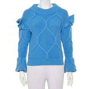 Burberry Prorsum Blue Wool & Cashmere Ruffle Detail Sweater XS - used