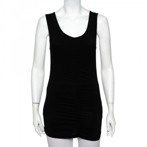 Burberry Black Jersey Ruched Detail Sleeveless T-Shirt M - used