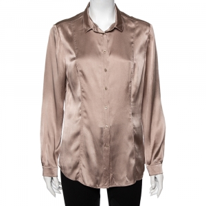 Burberry Beige Silk Satin Paneled Button Front Shirt M - used