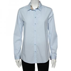 Burberry Brit Powder Blue Cotton Button Front Shirt L - used
