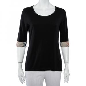 Burberry Brit Black Cotton Nova Check Trim T-Shirt L - used