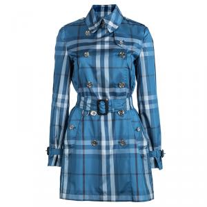 Burberry Brit Blue Checked Double Breasted Belted Trench Coat S