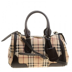 Burberry Beige/Brown Haymarket Check PVC and Leather Gladstone Bowling Bag
