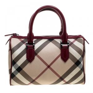 Burberry Beige/Raspberry Nova Check PVC and Patent Leather Chester Boston Bag