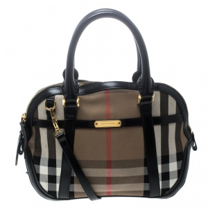 Burberry Black House Check Fabric and Leather Orchard Bowling Bag