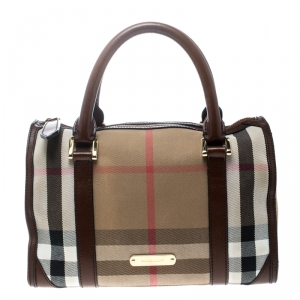 Burberry Beige/Brown House Check Canvas and Leather Boston Bag