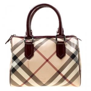 Burberry Burgundy Nova Check PVC Chester Boston Bag