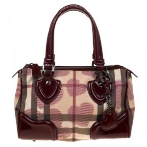 Burberry Burgundy House Check PVC & Patent Leather Hearts Boston Bag