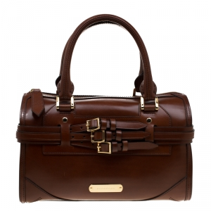 Burberry Brown Bridle Leather Belted Bowler Bag
