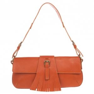 Burberry Leather Fringe Flap Shoulder Handbag