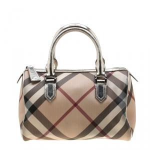 Burberry Silver Nova Check PVC and Leather Chester Boston Bag