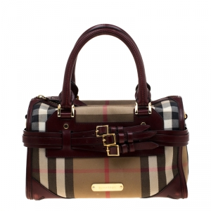 Burberry Burgundy House Check Fabric and Leather Bridle Chester Bowler Bag