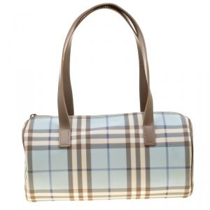 Burberry Blue/Brown Nova Check PVC Boston Bag