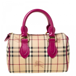 Burberry Beige/Fuchsia Haymarket Check Coated Canvas and Leather Boston Bag