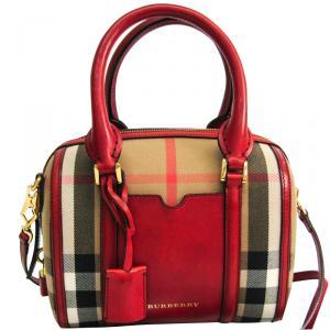 Burberry Tricolor Canvas Leather Boston Bag