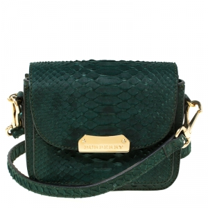 Burberry Dark Green Python Front Pocket Crossbody Bag