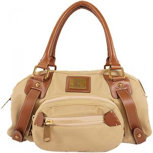 Burberry Beige/Brown Leather Canvas Boston Bag