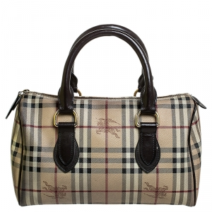 Burberry Beige/Brown Haymarket Check Coated Canvas and Leather Boston Bag