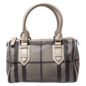 Burberry Grey/Beige Smoked Check PVC Small Chester Boston Bag