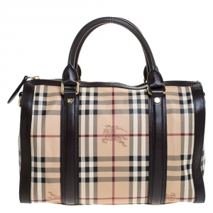 Burberry Brown/Beige Haymarket Check Coated Canvas Boston Bag