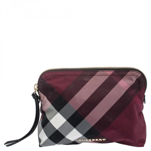Burberry Plum Check Nylon Zip Cosmetic Pouch