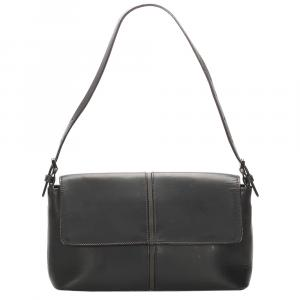 Burberry Black Leather Baguette