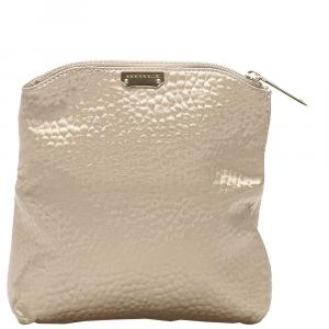 Burberry Brown/Beige Textured Fabric Fold Over Clutch Bag
